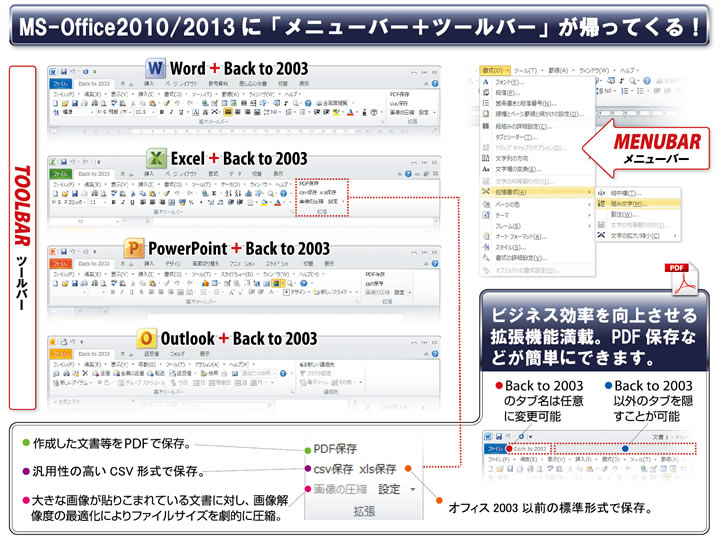 back to 2003 for office2010 2013 ms office2010 2013に メニュー