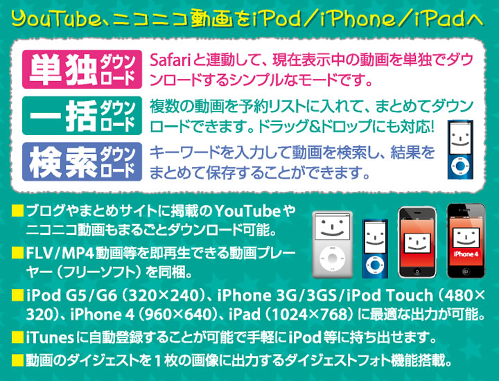 YouTube ニコニコ動画を iPod / iPhoneへ